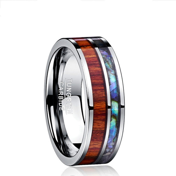 8mm Inlaid Hawaiian Koa Wood and Abalone Shell Tungsten Carbide Ring