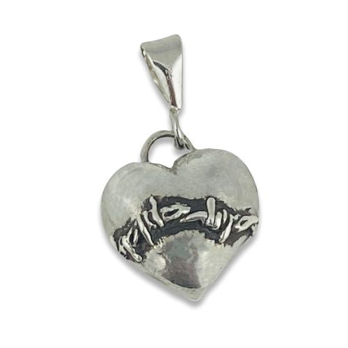 Sterling Silver LOVEFOOL Barbed Wire Heart Pendant