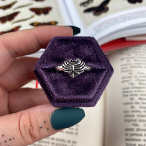 Sterling Silver Heart in a Cage Ring