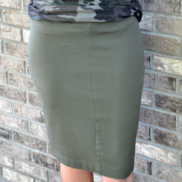 stretch knit skirt - olive - customer favorite!