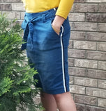 paper bag denim skirt
