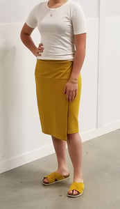 jersey wrap skirt in mustard