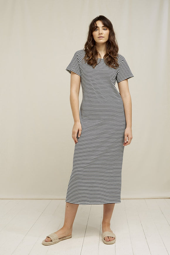 darika stripe dress - navy