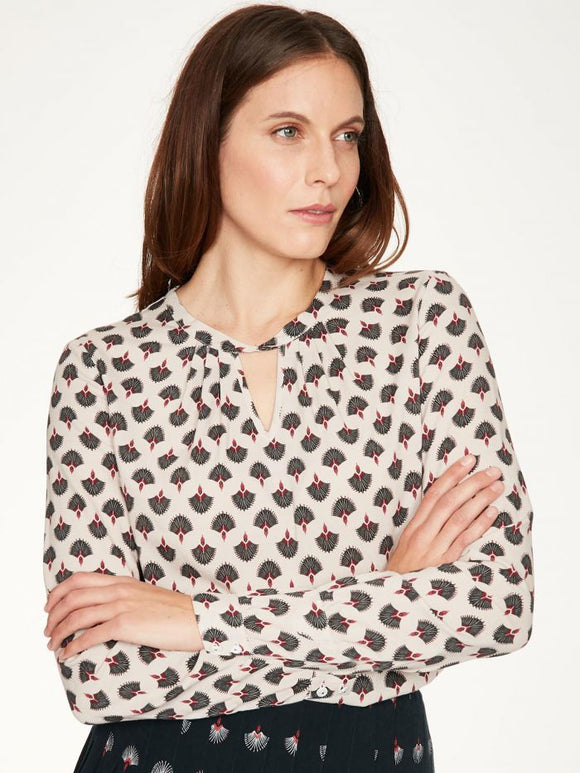 art deco printed top - birch grey