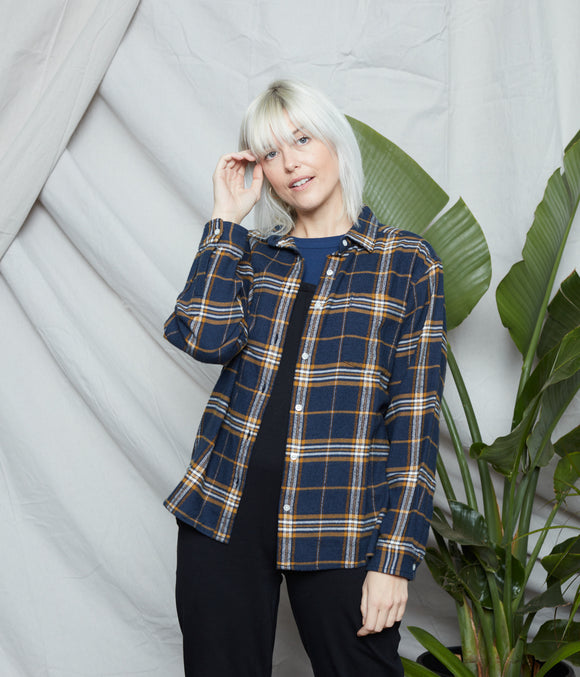 wilder flannel - navy + gold