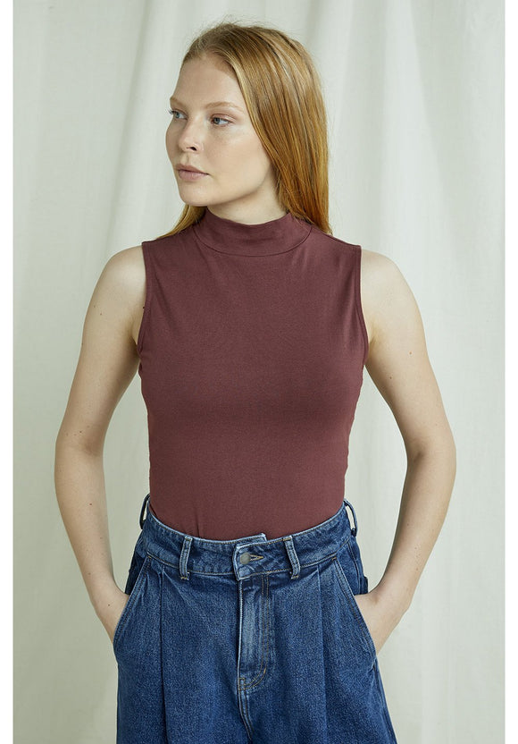 kana turtleneck tank top - brown