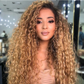 C141 | Human Hair| Gradient Golden Curly Wig| 360 Lace