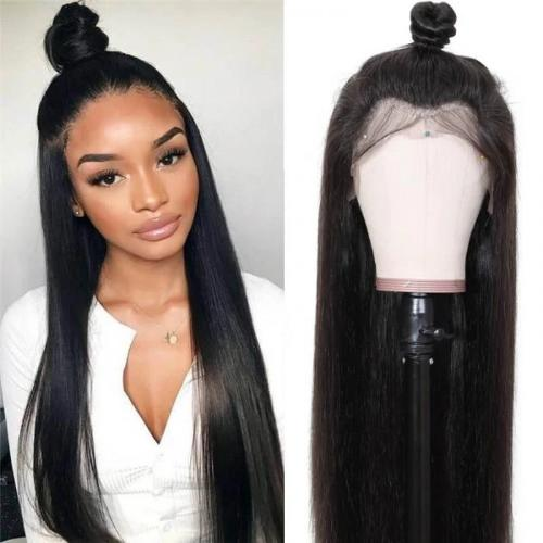 S142| Human Hair Soft Long Straight 360 Lace Front Wig