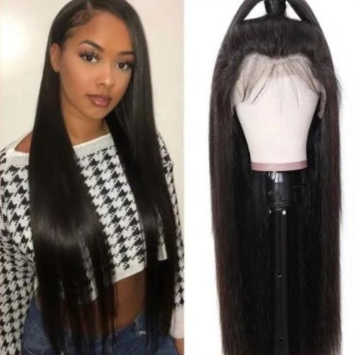 S152| Soft Long Human Hair Straight 360 Lace Front Wig