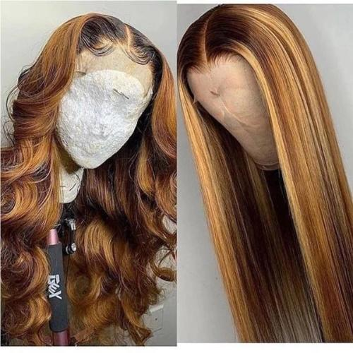 WS101| 140% Human Hair Wave/Straight Wigs Brown Color