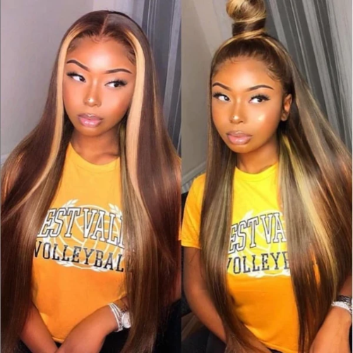 SD101| Brazilian Virgin Straight Human Hair Lace Front Wigs