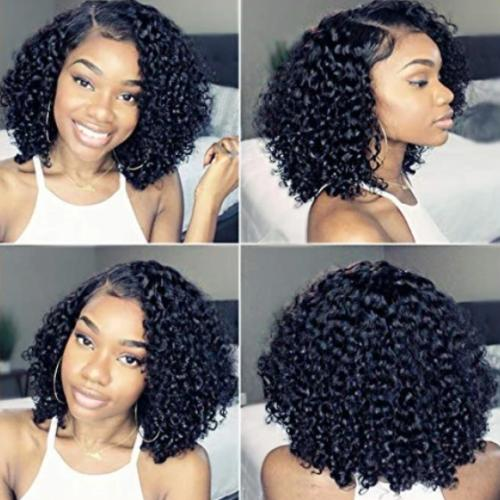 CB108| Pre Pluked Lace Deep Short Curly Human Hair Wig