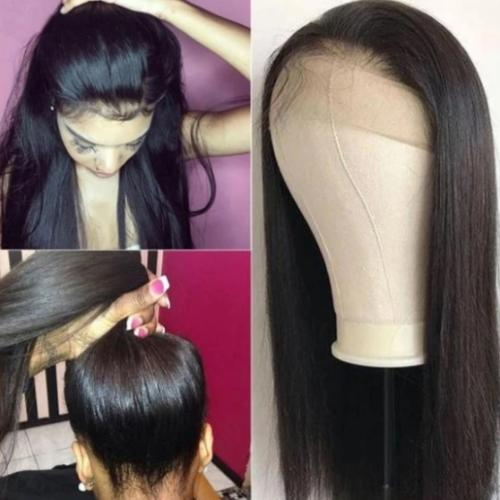 S332| Brazilian Virgin Natural Color Real Hair Straight Lace Front Wig