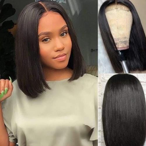 SB102 | Human Hair| 8-16 Inch Straight Bob Wig| 360 Lace