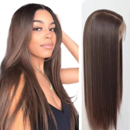 S111 | Human Hair| Brown Long Brazilian Straight Wig| 360 Lace