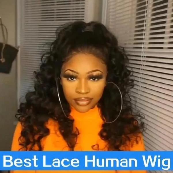C116| Brazilian Frontal 360 Lace Curly Wigs | Black/Blonde