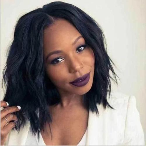 WB109 | Human Hair| Natural 100% real black wave lace wig| 360 Lace
