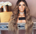 W103 | Human Hair| Brown Wavy Full Lace Wig| 360 Lace