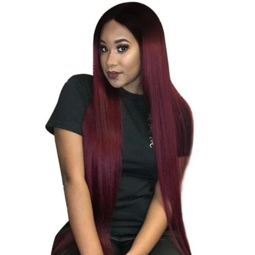 SR104 | Human Hair| Red 16-24 Inch StraightWig| 360 Lace