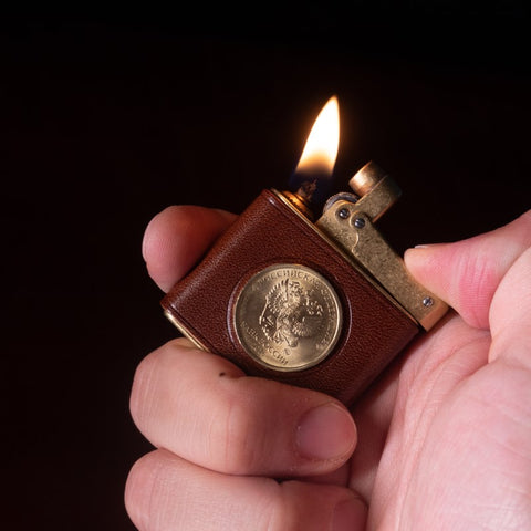 Luxury Lighter with Eagle Coin Lighter Sleeve