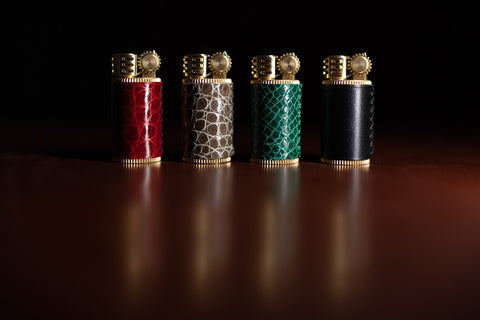 Crocodile Leather Wrapped Douglass Lighters
