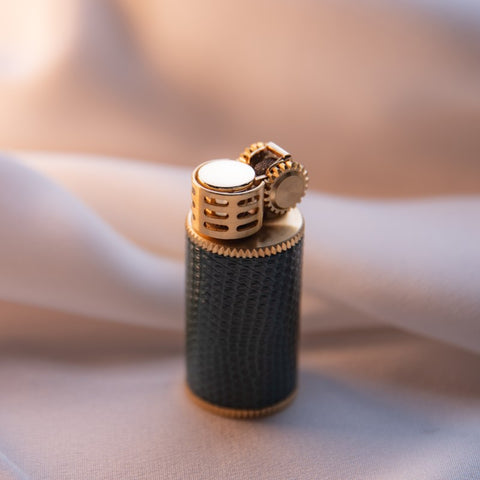Lizard Leather Wrapped Douglass Lighter