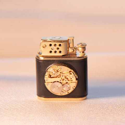 Black Gold Flint Wheel Cigarette Metal Windproof Lighter