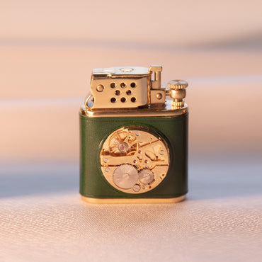 Gold Flint Wheel Cigarette Metal Lighter Green