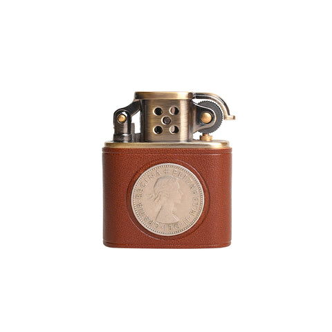 TSHOMX Hand Forged Queen Elizabeth Coin Lighter - white blackground