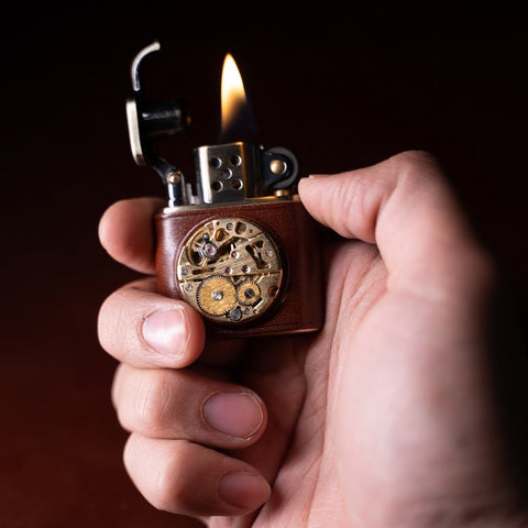 Brass Carved Lift Arm Kerosene Lighter TSHOMX - lifestyle