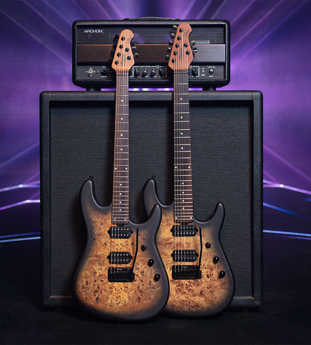 The Jason Richardson Cutlass guitar collection against a large amp.