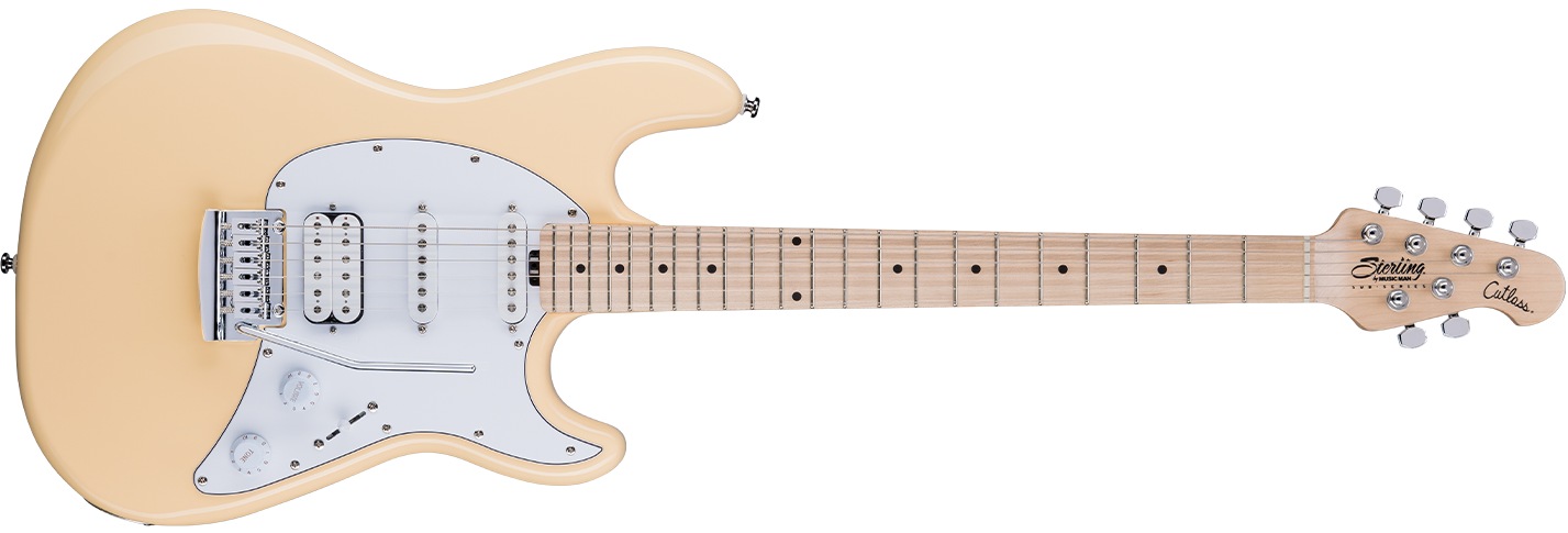 The Cutlass CT30HSS guitar in Vintage Cream front details.