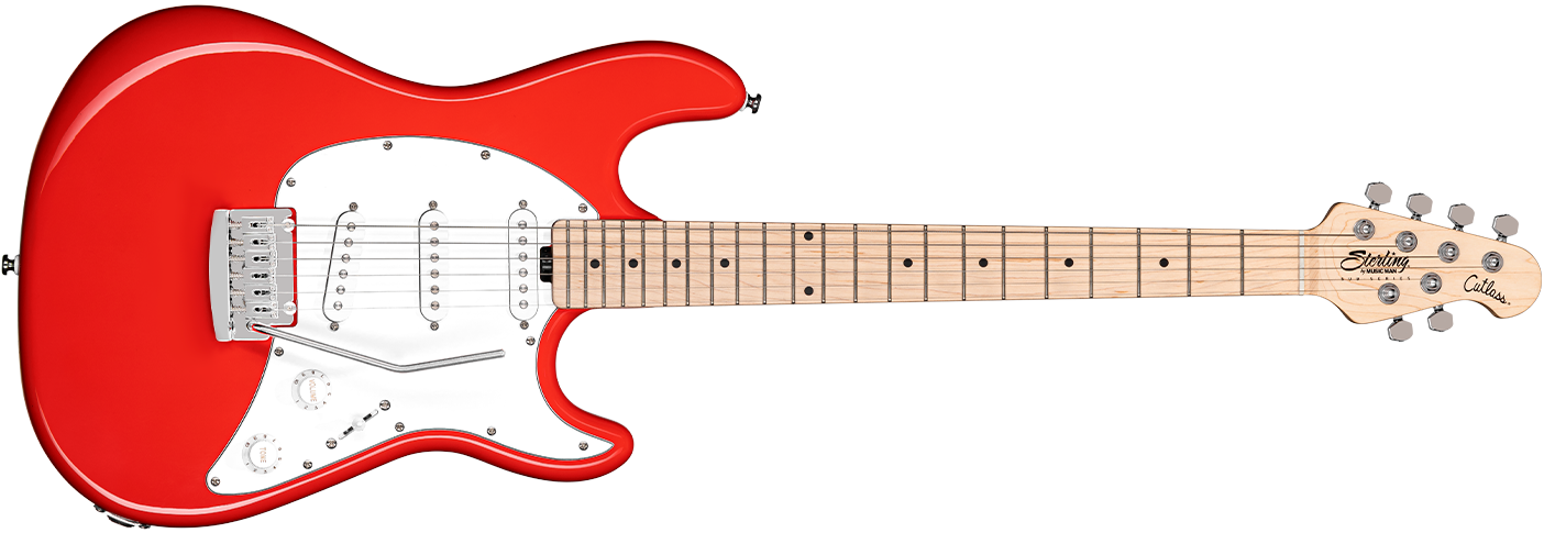 The Cutlass CT30SSS guitar in Fiesta Red front details.