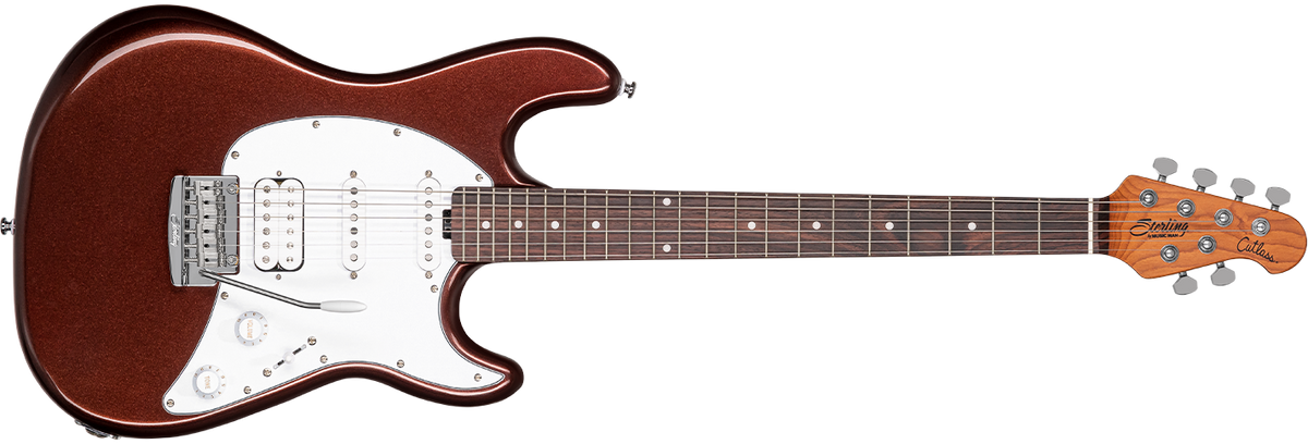 The Cutlass CT50HSS guitar in Dropped Copper front details.