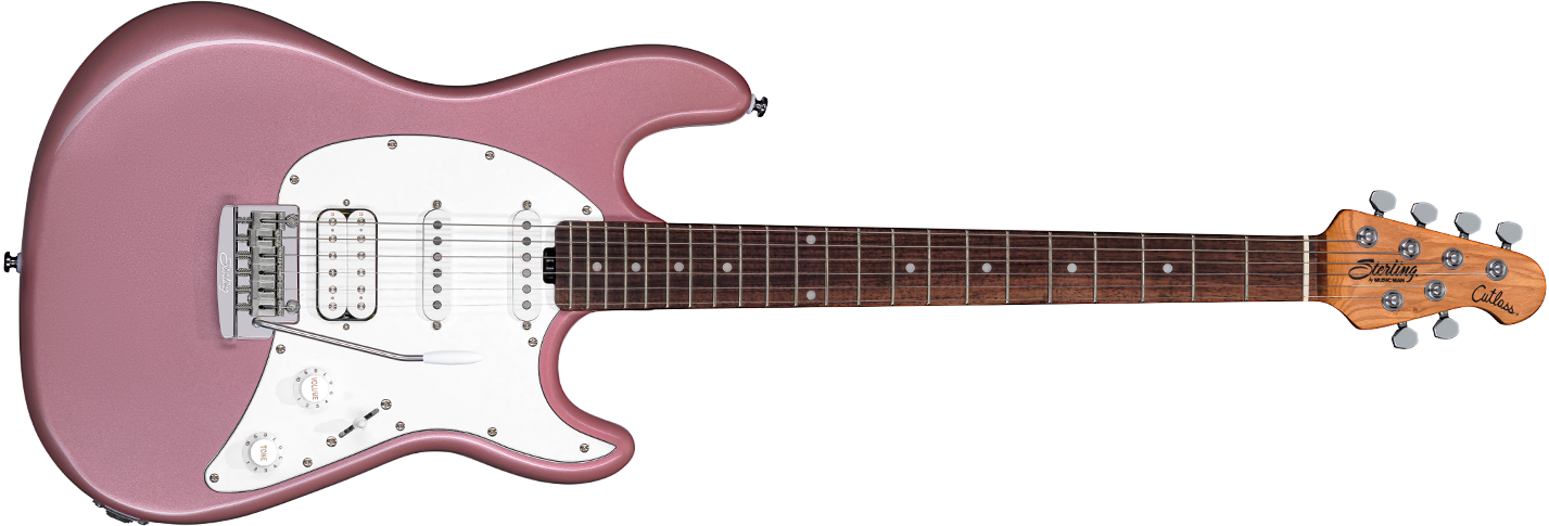 The Cutlass CT50HSS guitar in Rose Gold front details.