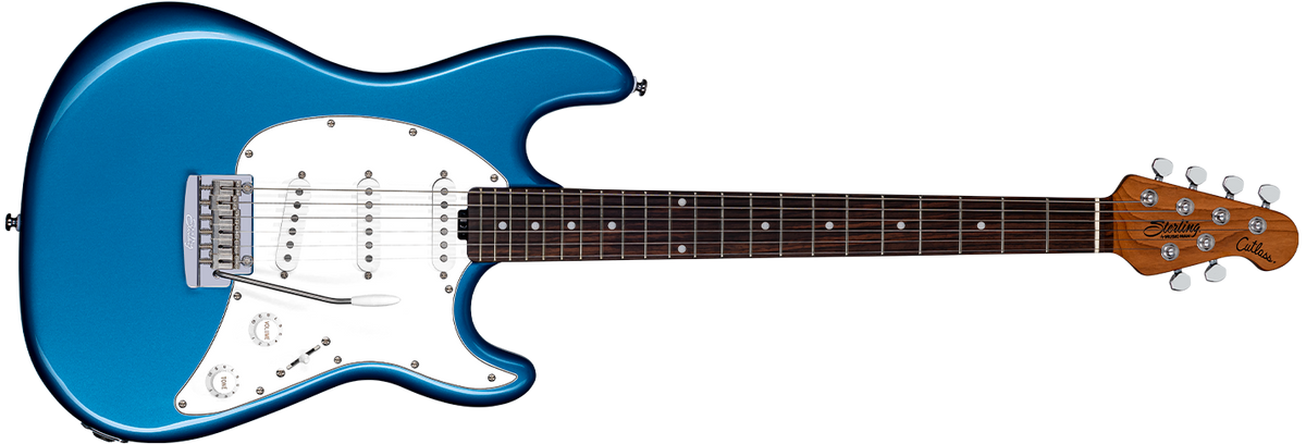 The Cutlass CT50SSS guitar in Toluca Lake Blue front details.