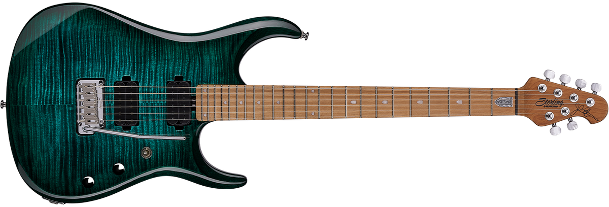 The JP150 guitar in Teal front details.