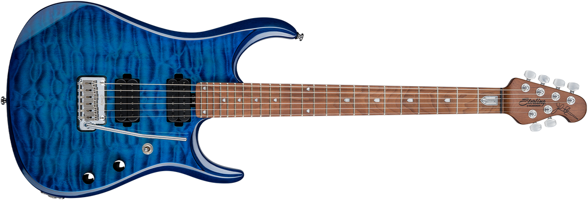 The JP150 guitar in Neptune Blue front details.