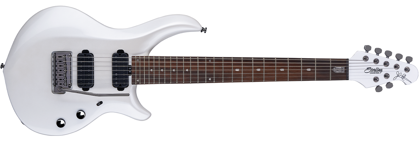 The 2019 Majesty 7 guitar in Pearl White front details.