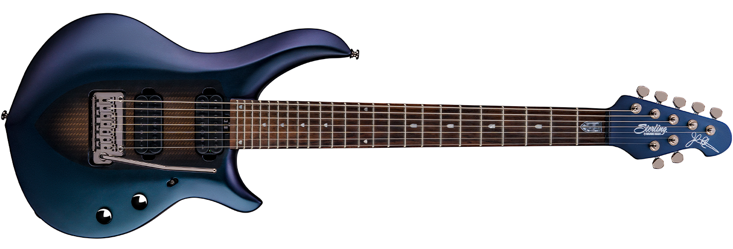 The 2018 Majesty 7 guitar in Arctic Dream front details.