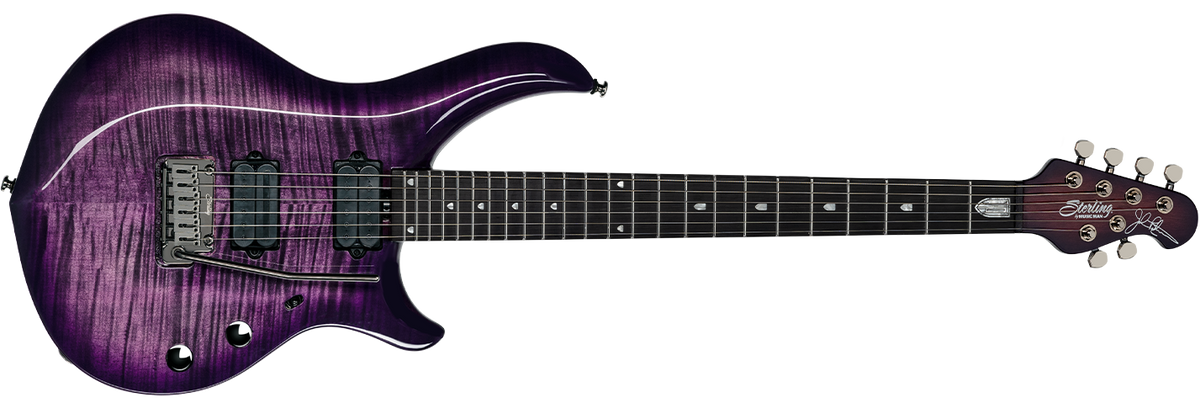 The Majesty X DiMarzio guitar in Majestic Purple front details.