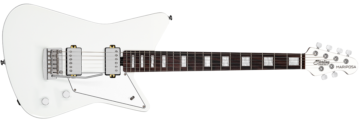 The Mariposa guitar in Imperial White front details.