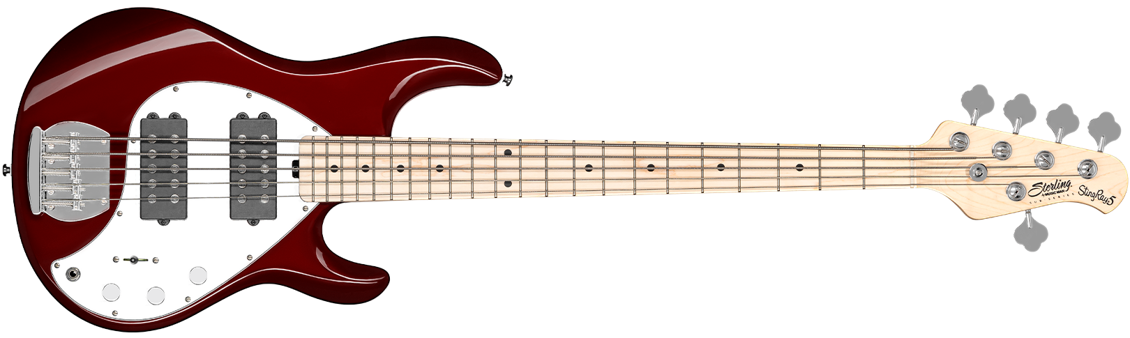 The StingRay Ray5HH bass in Candy Apple Red front details.