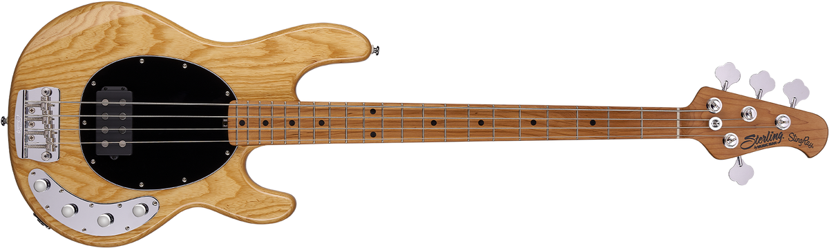 The StingRay Ray34 bass in Ash front details.