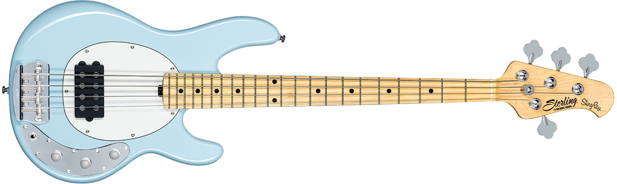 The Stingray Short Scale bass in Daphne Blue front details.
