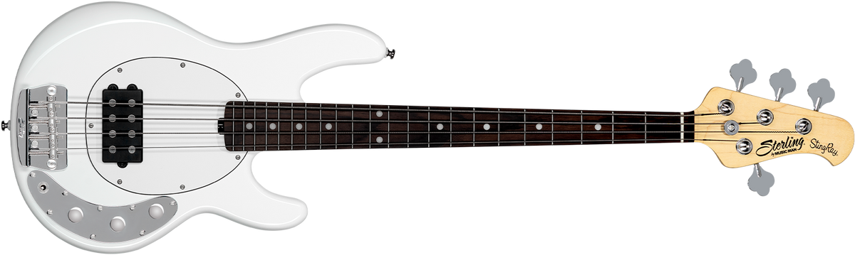The Stingray Short Scale bass in Olympic White front details.