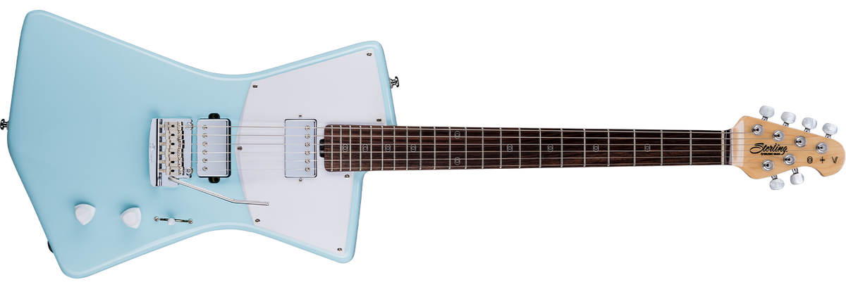The St. Vincent HH guitar in Daphne Blue front details.