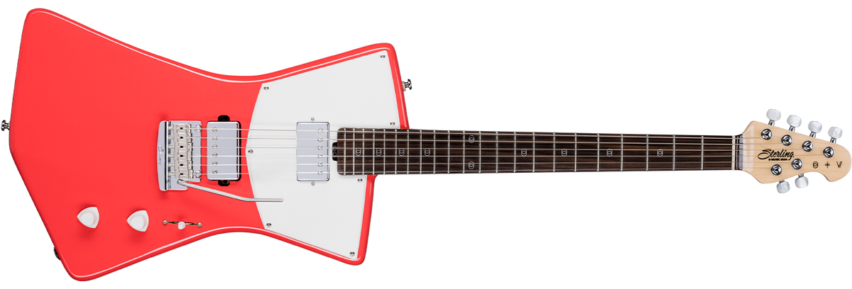 The St. Vincent HH guitar in Fiesta Red front details.