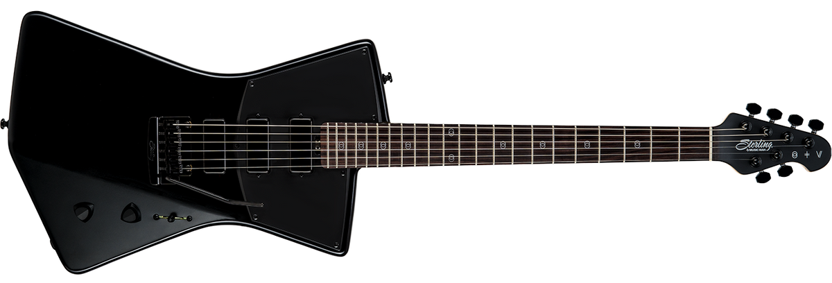 The St. Vincent guitar in Stealth black front details.