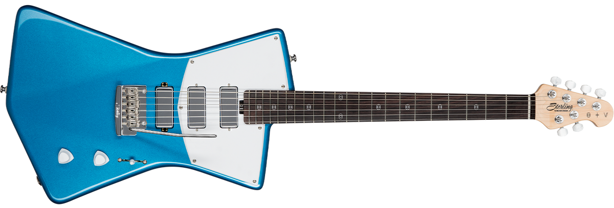 The St. Vincent guitar in Vincent Blue front details.